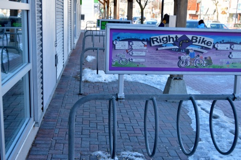 Rightbike corral outside Mountain Equipment Co-op on Richmond Road