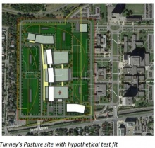 Hypothetical fitting of Ottawa Hospital on Tunney's Pasture site from April 2016 report