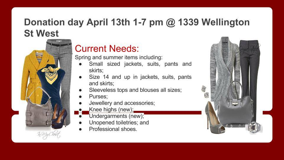 Requirements for Donation Day, 13 April 1-7pm at 1339 Wellington Street West