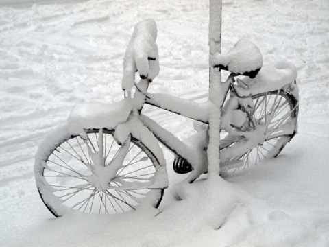 Snow covered bicycle chained to street sign