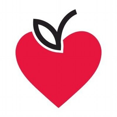 Parkdale Food Centre Logo - red heart with an apple stem